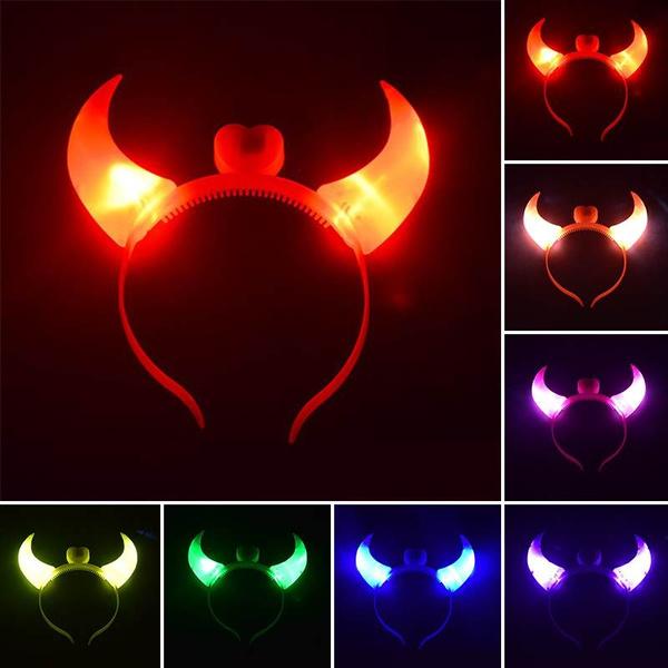 LED Devil Horn Light Up Headband Flashing Horn Halloween/&Christmas Party Decor