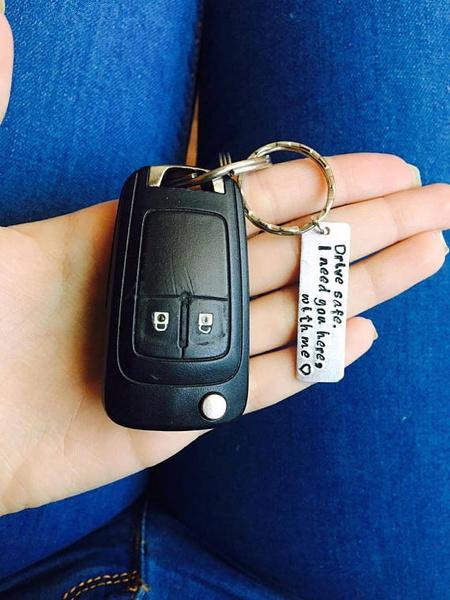 Wish   Personalized Keychain Drive Safe Boyfriend Gift