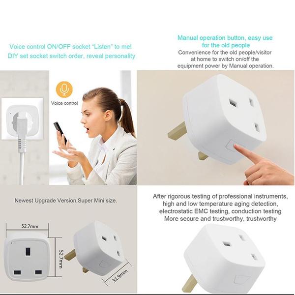 Smart plug UK wifi Electrical Sockets Plugs Adaptors Smart Power Socket  Plug outlet smart Home Control alexa Google Home