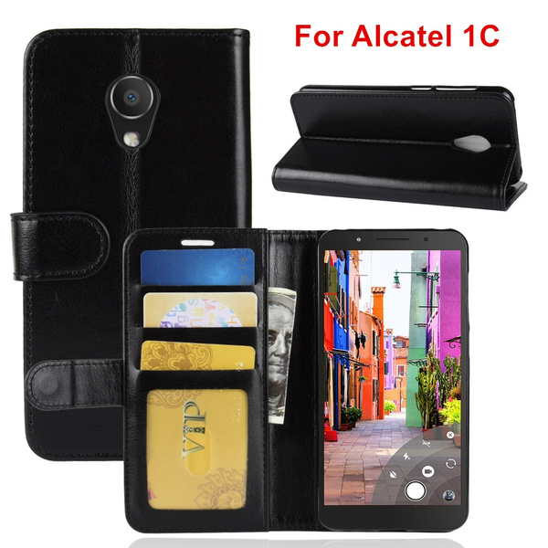quality design 3da90 c25b0 For Alcatel 1C Book Cover Luxury Wallet Case PU Leather Phone Cases For  Alcatel 1C Case Flip Magnetic Business Phone Bag Cases