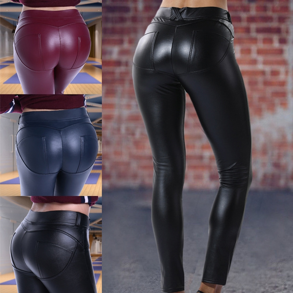 2019 best limited quantity value for money 2018New Women Leather Leggings High Waist Pants Tight faux Leather Leggings  Chaparajos