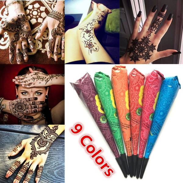 3c98b42290904 Natural Herbal Henna Cones Temporary Waterproof Tattoo Kit Black ...