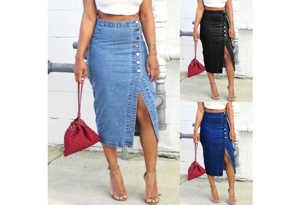 1cb919e963f8 2019 Women s Sexy Button Detail High Waist Denim Skirt
