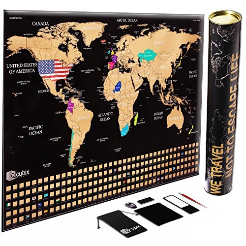 Scratch off Map of the World, Unique US Flag Edition, Large