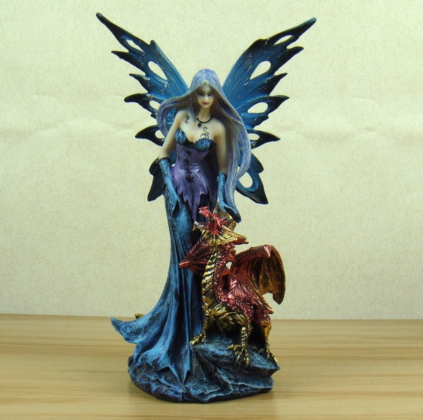 New Succubus And Firedrake Figurine Mythical Resin Fairy And Fiery Fragon Statue Art And Craft Ornament Accessories Furnishing Cute
