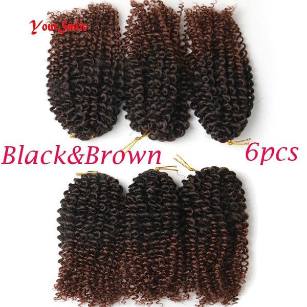 Wish 6 Pcs Curl Crochet Hair 3x Braid Hair Short Synthetic Hair