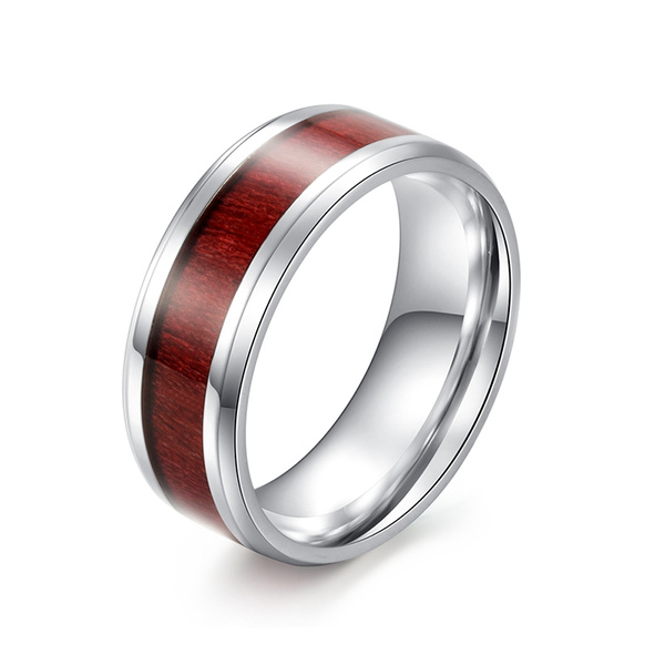 Jewelry Mens Classic Titanium Steel Rings With Wood Veneer Inlay Width 8mm