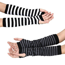 Women Punk Long Fingerless Gloves Gothic Rock Bracers Arm Warmer Buckle Mittens