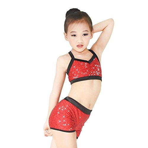 2390e60ff MiDee Sequins Costume Crop Tops & Shorts Hip Hop Pole Dance Outfits  Gymastics Acrobatics Competition Performance (MC, Red) | Wish