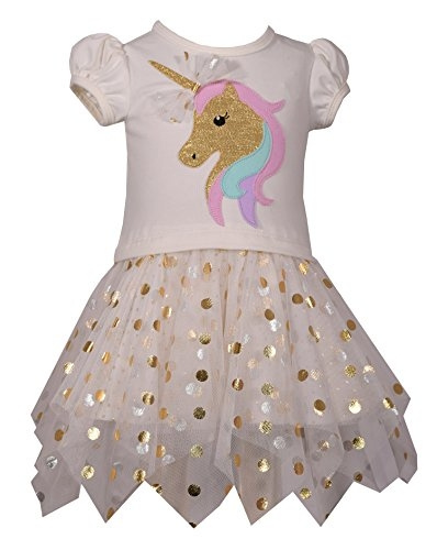 Wish Bonnie Baby Baby Girls Knit Appliqued Tutu Dress Unicorn 12m