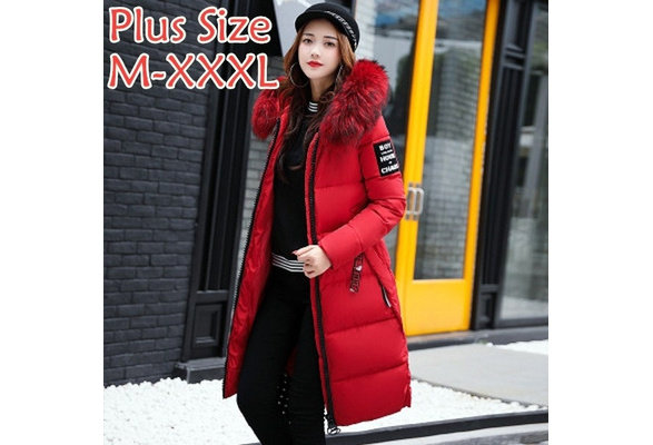 Cotton Jacket, Women's Wear, Winter Coat, New Style, Long Knee, Big Hair Collar
