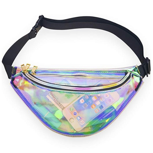 28ca8ffc4f98 Neon Holographic Fanny Pack, 80s Cute Fashion Fanny Packs for Women Girls,  Shiny Waist Pack Bum Bag for Rave, Festival, Party, Travel