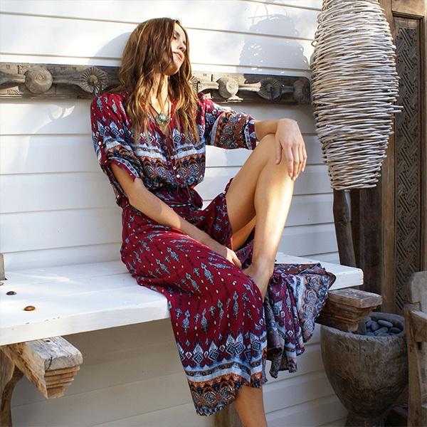 8a7670cb15db3 Women Long Maxi Dresses Bohemia V-neck Three Quarter Sleeve Floral Print  Ethnic Summer Beach Female Split Stylish Style Dress