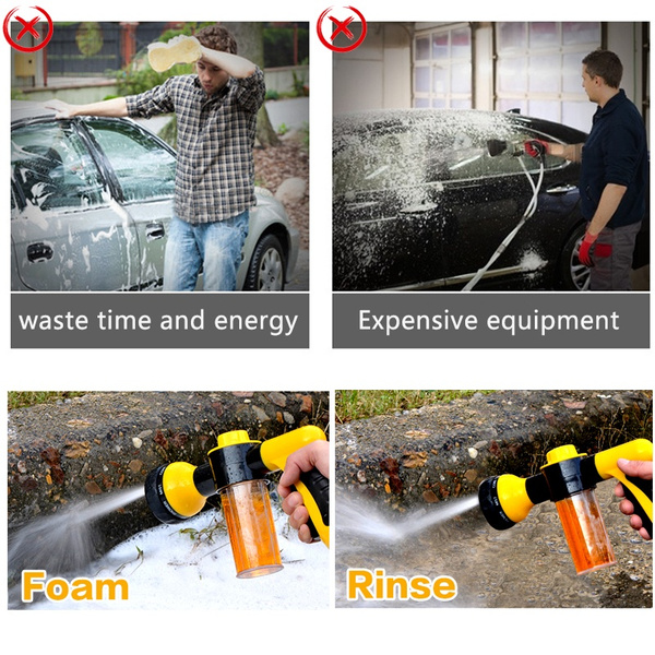 Wish | 25ft 7.5M Expandable Garden Hose Water Pipe W/ 9-in-1 Spray Gun Nozzle and Connector High Pressure Water Gun Car Hose Nozzle Sprayer Head Jet Water ...