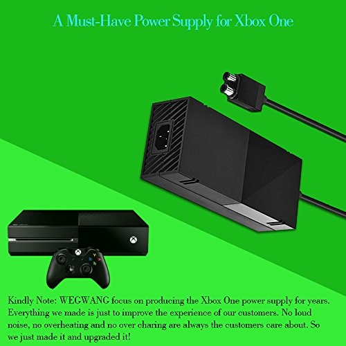 Upgraded Version Xbox One Power Supply Brick Cord, WEGWANG Quiet Ac Adapter  Power Supply for Xbox One, Great Charging Accessory Kit with Cable for