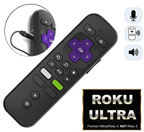 Replacement ROKU Enhanced Voice Remote w/Headphone Jack/Pairing  Button/Voice Control/Lost Remote Finder/Game Function and 4 Shortcuts for  Roku 4K