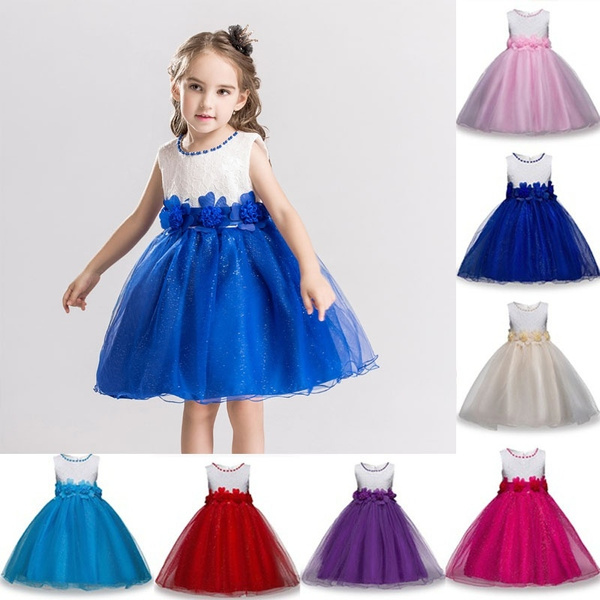 Baby Flower Bridesmaid Wedding Birthday Party Dress Kids Prom Gowns Little  Girl Homecoming Ceremony Dresses for Girls Ball Gown Clothing 3,13 Years