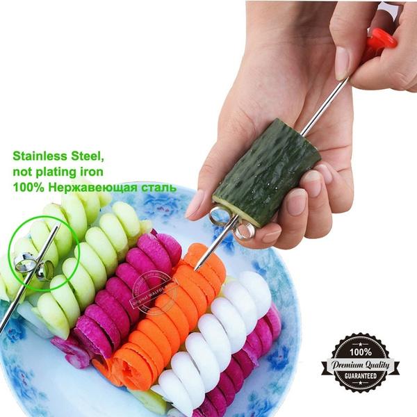 Vegetable Fruit Manual Roller Spiral Cutter Slicer Stainless Steel Carving Tool