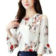blouse, Summer, flaresleeveschiffon, autumnblouse