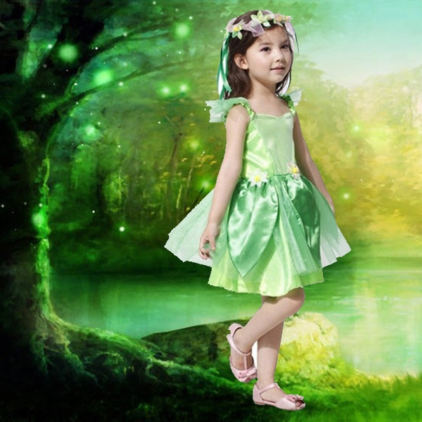 5ddb47cc492 Girls Green Fairy Tinkerbell Costumes Halloween Dress Avenue Neverland  Garden Fairy Kids Costume Lovely Woodland Dress