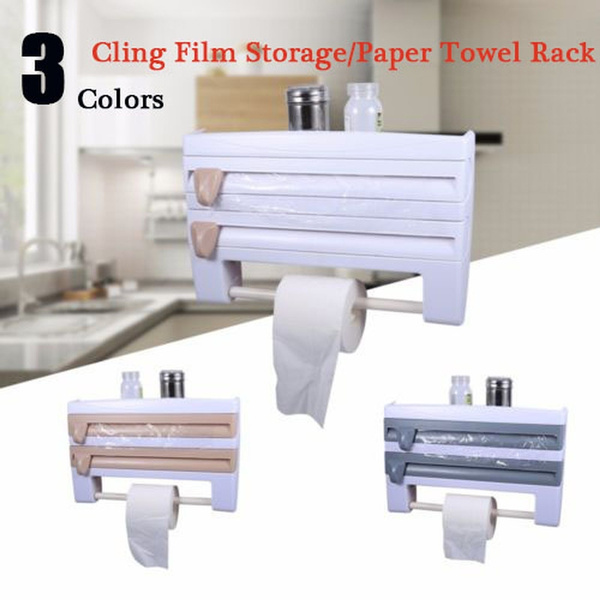 Storage Cutting Rack Kitchen Cling Film Cutting Holder Paper Storage Rack