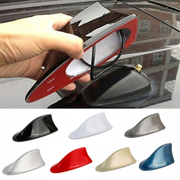 Good Car Exterior Roof Shark Fin Adhesive Sticker Antenna FM/AM Signal  Radio Aerial with Receiver Chip