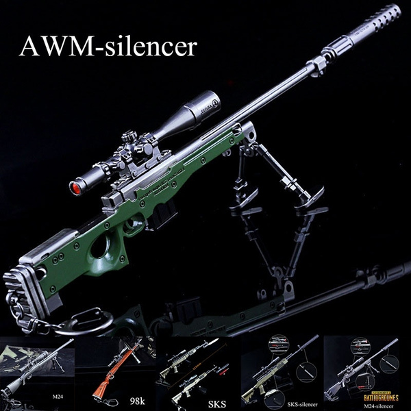 PUBG Sniper Rifle Model with Muffler Sight All Metal Crafts Ornaments Model  Keychain