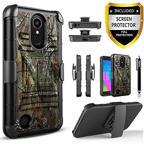 Circlemalls Combo Holster Kickstand Phone Case Cover With [HD Screen  Protector] Compatible For LG Aristo 2, LG Aristo 2 Plus, LG Tribute  Dynasty, LG