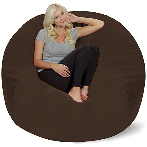 Swell Chill Sack Bean Bag Chair Giant 5 Memory Foam Furniture Bean Bag Big Sofa With Soft Micro Fiber Cover Brown Pebble Dailytribune Chair Design For Home Dailytribuneorg