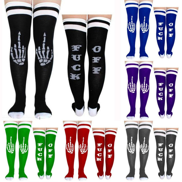 Women Funny Fuck Off Letters Printed Over The Knee Socks Thigh High Long Stockings Leggings