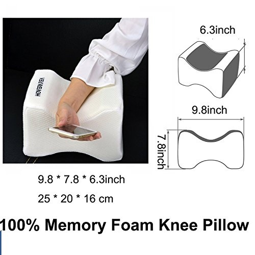 Knee Pillow With Memory Foam for Knee Support And Back Relief.