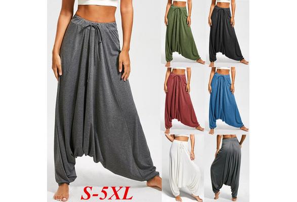 Women's Fashion Casual Loose Solid Color Cotton Harem Pants Long Pants Yoga Pants