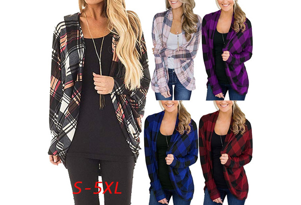 Women's Fashion Plaid Print Long Sleeve Irregular Open Front Kimono Casual Loose Cardigan Blouse Tops