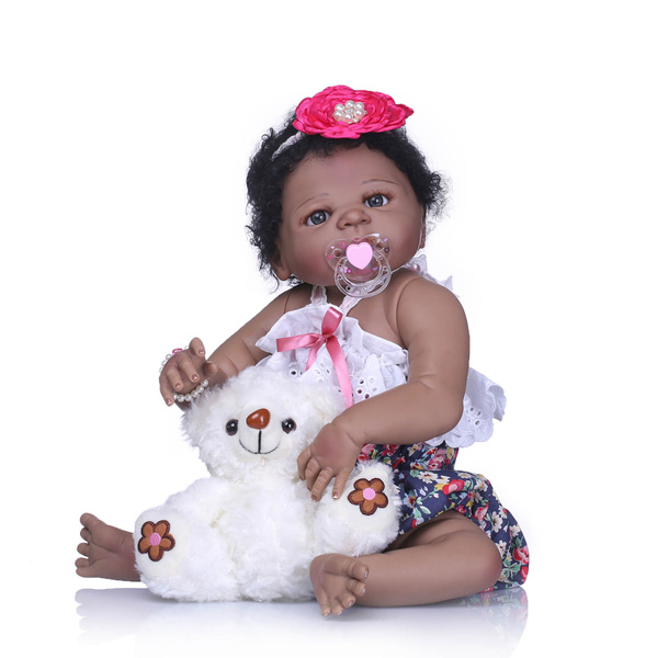 Black Reborn Baby Doll Silicon Full Body Alive Weighted Girl African American23/""