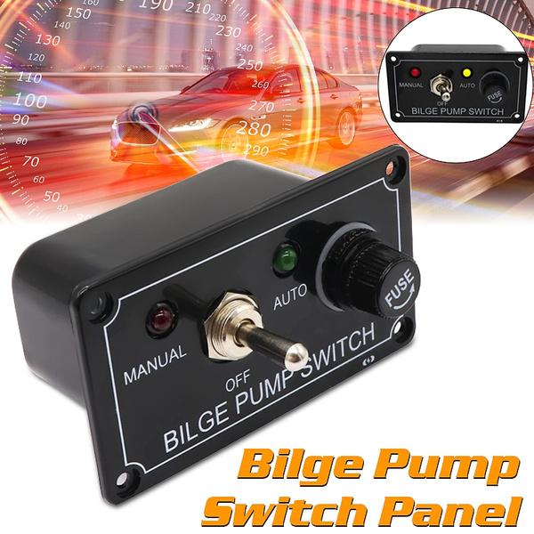 3 Way DC 12V Fused Marine Bilge Pump Switch Panel  with LED Indicator Light