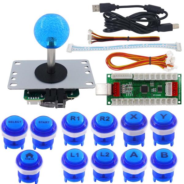 SJ@JX Arcade Game DIY Kit Mechanical Keyboard Switch PC PS3 Android Xbox360  Zero Delay PS USB Encoder Arcade Joystick Controller Arcade Button