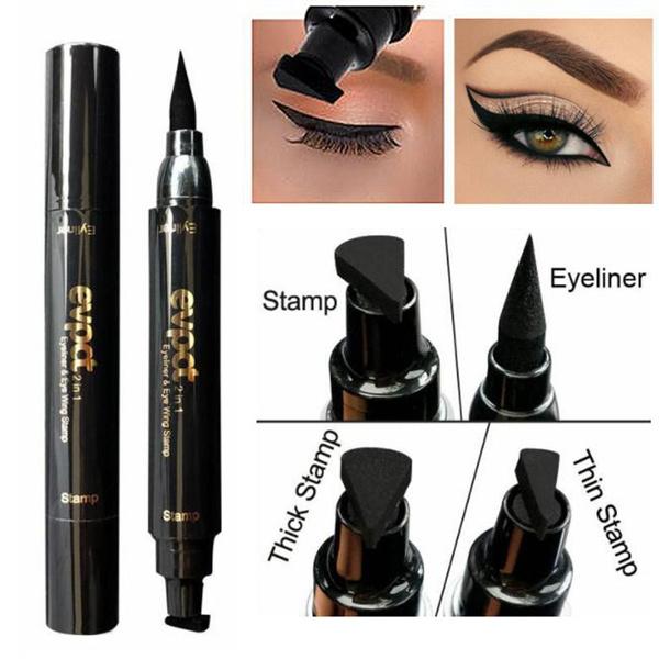 Eyeliner Beauty Essentials Sexy Double Head Black Eyeliner Wing Shape Seal Waterproof Liquid Eyeliner Pencil Cat Eye Cosmetic Tool Quick Makeup