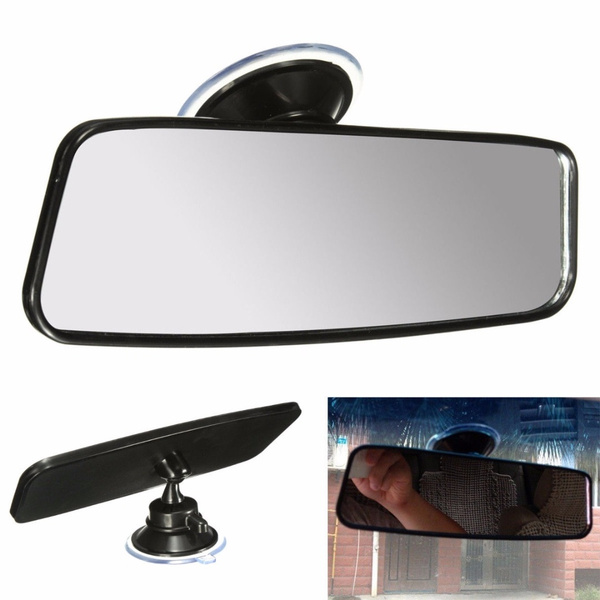1x Universal Car Truck Wide Flat Interior Rear View Rearview Mirror Suction Cup