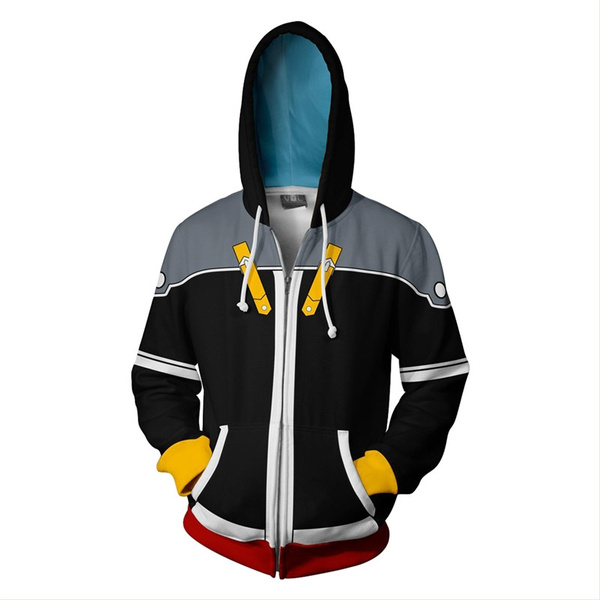 Kingdom Hearts 2 Sora Hoodie Sweatshirt Cosplay Costume Zipper Jacket Coat