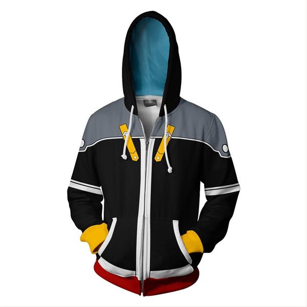 Kingdom Hearts 2 Sora Hoodie Sweatshirt Cosplay Costume Zipper Jacket Coat