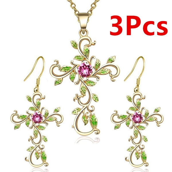 God We Trust Cross Pendant Necklace Earrings Jewelry Sets for Women Gifts New