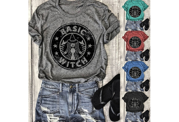 New Fashion Women T-Shirts Funny BASIC WITCH Letters Printed Shirt Casual Plus Size Cotton Tops S-5XL
