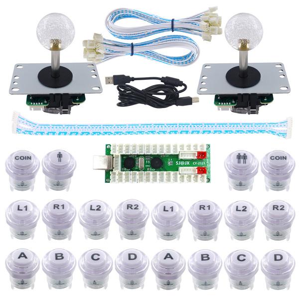 SJ@JX 2 Player LED Arcade Game DIY Kit Mechanical Keyboard Switch PC MAME  Raspberry Pi LED Button Fighting Joystick Controller Zero delay USB Encoder