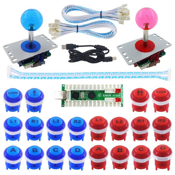 Mechanical Keyboard Switch Arcade Joystick Controller PC Raspberry Pi 2/3  SJ@JX 2 Player Arcade Game DIY Kit LED Button Zero Delay USB Encoder 2
