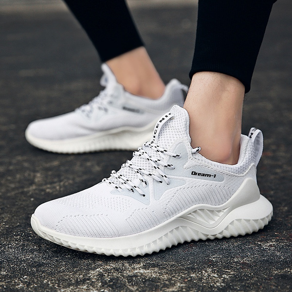 775ac9b6b45 men trail running shoes mesh breathable lightweight white tennis shoes  youth big boys sport sneakers gym workout shoes plus size