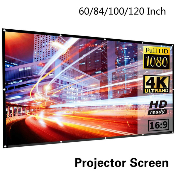 60 84 100 120 inch projector screen 16 9 hd foldable portable anti crease indoor outdoor movie screen support double slides projection for home theater gaming office wish wish