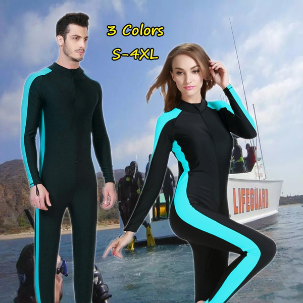 42f31f5bc10 Men s and Women s Swimsuit Long-sleeved Diving Suit Sunscreen Female ...