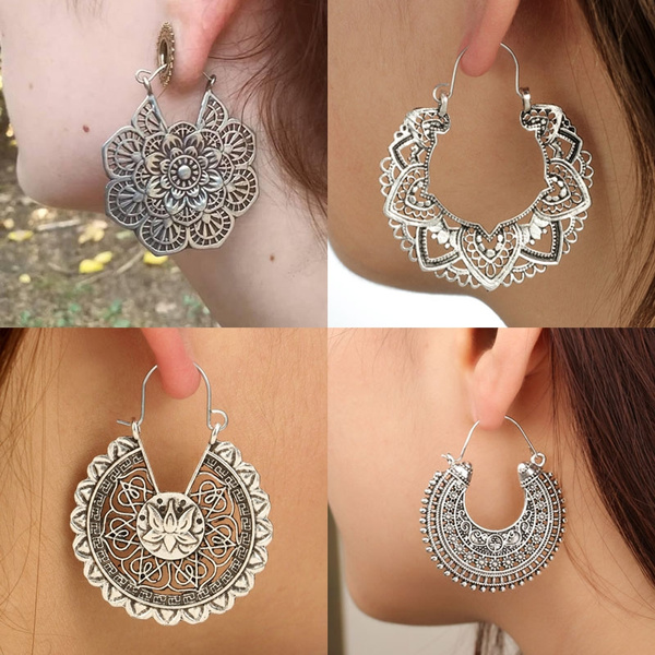 ethnicearring, Brass, Hoop Earring, Dangle Earring