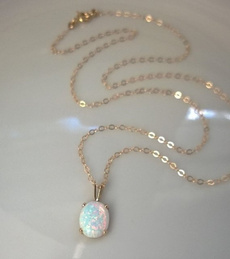 Chain Necklace, Jewelry, necklace for women, opals