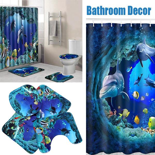 Blue Ocean Dolphin Bathroom Shower